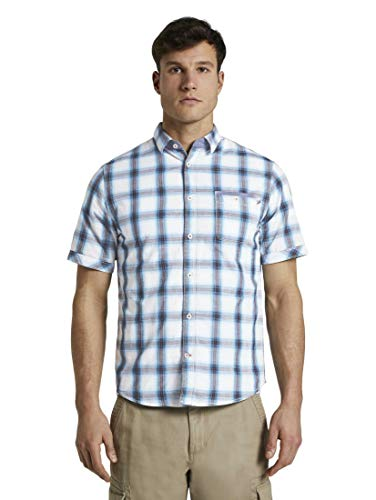 TOM TAILOR Herren Ray Karo Hemd, Blue White Shadow Check, L EU