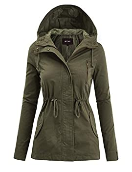 FASHION BOOMY Women s Zip Up Safari Military Anorak Jacket with Hood Drawstring - Regular and Plus Sizes Large Olive