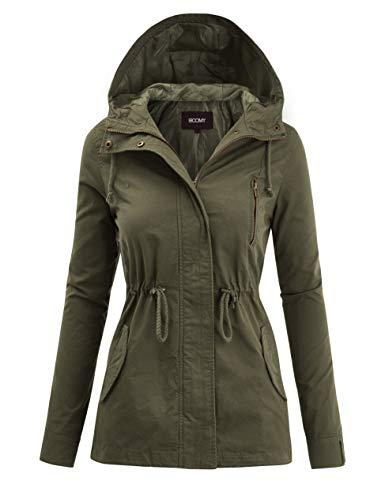 FASHION BOOMY Women's Zip Up Safari Military Anorak Jacket with Hood Drawstring - Regular and Plus Sizes Large Olive