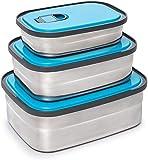 KUCE Fiambrera Bento, Caja Bento Sellada, Tres Cajas Bento de Acero Inoxidable, Muy Adecuada para Almuerzos y Meriendas para Niños y Adultos (Azul)