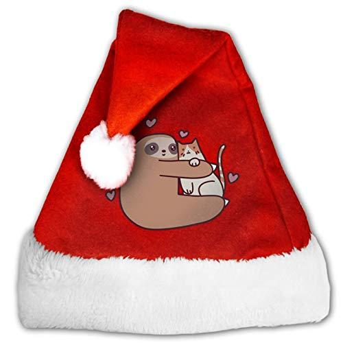 Sombrero unisex de Pap Noel, de perezosos en el rbol, cmodo, rojo y blanco, de terciopelo para fiesta de Navidad