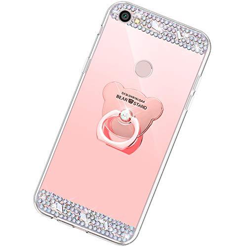 Funda Compatible con Xiaomi Redmi Note 5A.Espejo Oso Anillo Lentejuela Brillo TPU Silicona Suave Carcasa Purpurina Glitter Cover Mirror Moda Ultrafino Diamante Protective Bumper Case,Oro Rosa