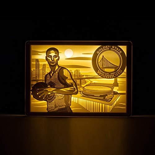 Golden State Guerrier Curry Durant Lumière Ombre papier Sculpture Lumière Veilleuse Valentine Star de la NBA cadeau (Color : 1, Size : 25.5 * 18cm)