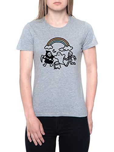 Delavi Spooky Pals Camiseta Mujer Gris T-Shirt Women's Grey