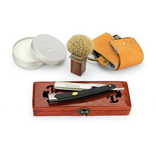 """A.P. Donovan - Solides Rasiermesser 7/8\"""" - Carbon-Stahl, schwarzer Kunststoffgriff (Pinsel, Seife, Paste, Leder-Streichriemen) - Komplett-Set"""