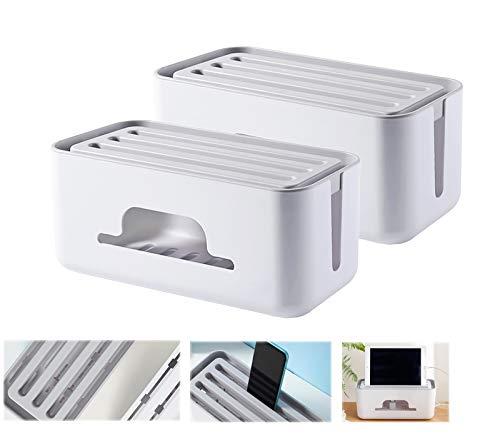 HAOGUT Kabelbox, 2er Set Kabelmanagement-Box, Steckdosenbox Kabelsammler, zum Kabel Verstecken bei Kabelsalat, Kabelaufbewahrung Kabel Organizer Box Schreibtisch Ladekabel, Weiß