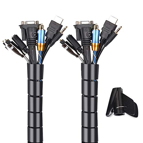 Cache Cable 2 Pack, Flexible Range Câble Mosotech 2x1.5M PE Câble Rangement Organisateur de Câble pour Ranger ou Cacher les câbles, Gaine pour câbles(2.6cm Ø et 2.2cmØ),Noir