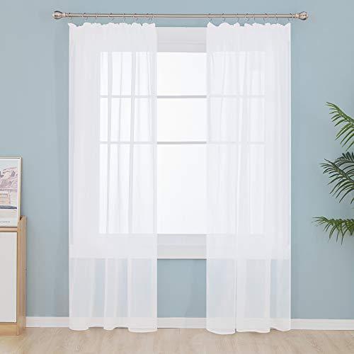 Deconovo Gardinen Voile Vorhangschals mit Kräuselband für Schinensystem Wohnzimmer Weiß 245x140 cm 2er Set