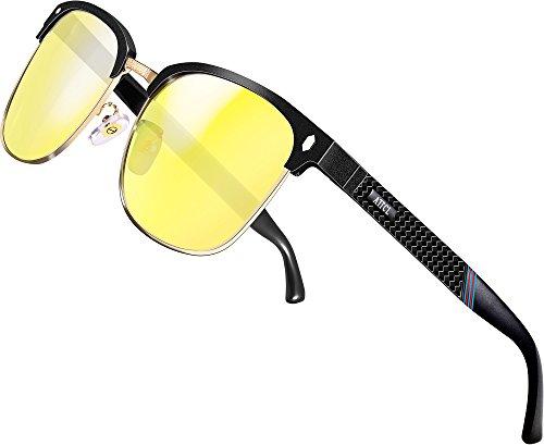 ATTCL Herren Nachtsichtbrille Autofahren Nachtfahrbrille Rechteckig Metall Rahmen 8-188 Night Vision