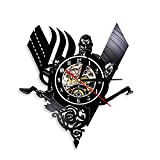 Viking Viking Odin Reloj de Pared con Registro de Vinilo Medieval Thor Ragnarok Norse Rune Retro Warrior Reloj, Genial