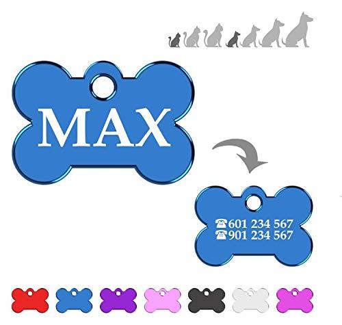 Hueso para Mascotas Muy pequeñas Placa Chapa Medalla de identificación Personalizada para Collar Perro Gato Mascota grabada (Azul)