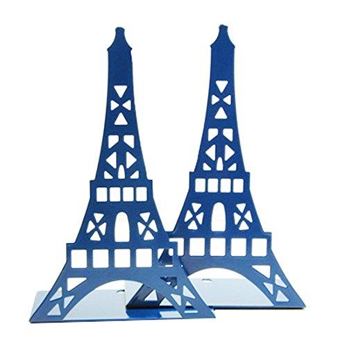 Un par de sujeta libros con diseño de la torre Eiffel para estantes organizadores, para soporte de libro de escritorio, metal decorativo, color azul marino