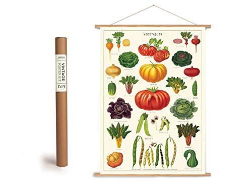 Cavallini Vintage Poster Set mit Holzleisten (Rahmen) und Schnur zum Aufhängen, Motiv Garten, Gemüse