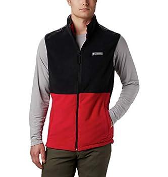 Columbia Men's Basin Trail Fleece Vest Full Zip Large Mountain Red Black