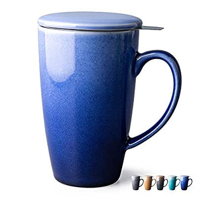 GBHOME Tea Cups with Infuser and Lid, 19 Ounces Large Tea infuser Mug, Tea Strainer Cup with Tea Bag Holder for Loose Tea, Ceramic Tea Steeping Mug, Blue Gradient