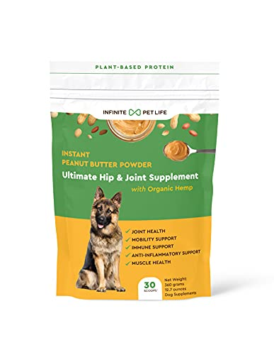Infinite Pet Life Joint and Hip Supplements for Dogs Instant Peanut Butter Powder   12.7 oz   Promotes Joint Health  Mobility  Anti-Inflammatory Support  & Muscle Health