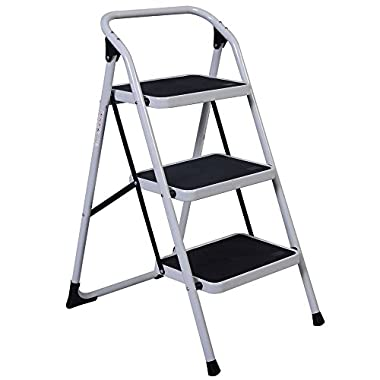 Z ZTDM Portable 3 Step Ladder with 330lbs Capacity Platform Father's Day Gift Lightweight Short Handrail Iron Folding Stool
