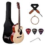 JUAREZ Arpeggio 39 Inch Acoustic Guitar Kit, Spruce Top, Rosewood Fretboard & Bridge, Truss Rod, Chrome Die Cast Machine Tuners, Natural