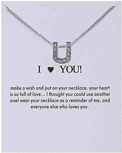 Yiffshunl Necklace Women Necklace Women Name Personality Alphabet Initial Letters Message Card Pendant Necklace Women Necklaces I Love You Jewelry Gifts Necklace Gift