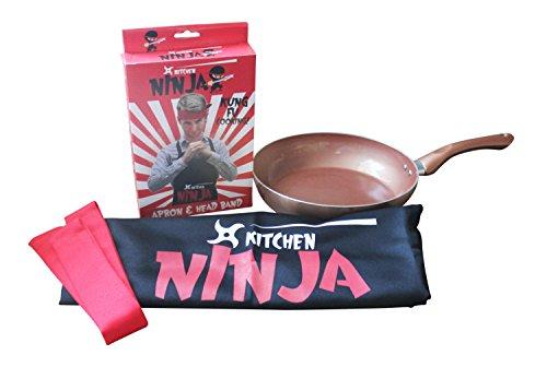 Keuken Grappig Gift Bundel - 3 Items - Keuken Ninja Schort en Hoofdband met Cermalon Koper Anti-aanbakplaat 28 cm