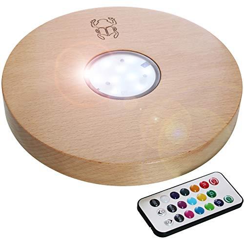 Kaya Shisha, LED y mando a distancia, diámetro: 22 cm, madera de haya, accesorios para pipa de agua