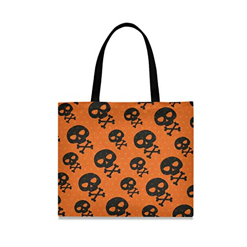 Black Halloween Skulls Reusable Shopping Tote Grocery Foldable Bag Portable Storage Shoulder Bags Handbags for Travel Women Girls