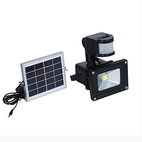 10W LED Solar Strahler mit Bewegungsmelder 3 modi - Fluter Solarpfosten IP65 Wasserfest Aluminium Warmweiß - für Garten,Garage,Hof (10W Warmweiß)