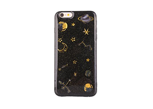 pour iPhone 6S Coque, pour iPhone 6 Couverture TPU, CrazyLemon Soft Varnish Technologie TPU Silicone Gel Caoutchouc Peau 3D Relief Motif Conception Coque pour iPhone 6 / 6S - Planète Noir