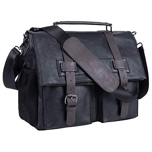 Leather Camera Bag, Waterproof Vintage DSLR SLR Shockproof Camera Shoulder Messenger Bag Compatible for Canon Sony Nikon -Black