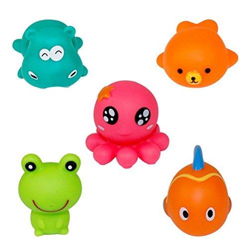 YeahiBaby Juguetes de Squirter para baño 5 piezas Juguetes de bañera para animal marino gratis de BPA - Juguetes acuáticos de verano para bebés Niños Toddler