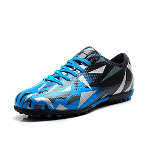 Saekeke Botas de fútbol para niños Hombres TF Zapatos de fútbol Adolescentes Niña Profesionales Antideslizante Calzado de Entrenamiento Unisex-Adultos Azul Negro EU32