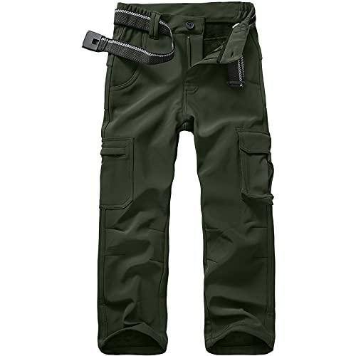 Jessie Kidden Mens Waterproof Hiking Pants Snow Ski Fishing Fleece Lined Insulated Soft Shell Outdoor Winter Pants (6069 Army Green 40)