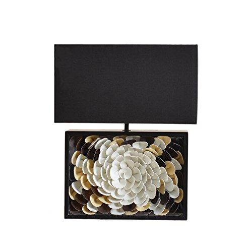 Bureaulampen tafellampen creatieve bloemen-vormige lederen houten tafellamp, rechthoekige lampenkap van het weefsel, woonkamer-slaapkamer-leeslamp, E27 tafel- en bedlampje