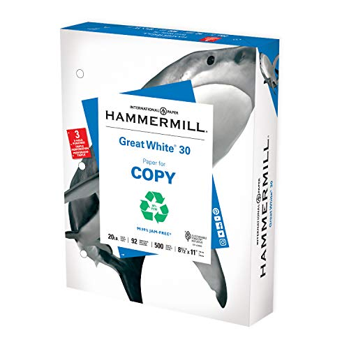 Hammermill Printer Paper, Great White 30% Recycled Paper, 3 Hole - 1 Ream (500 Sheets) - 92 Bright, Made in the USA, 086702