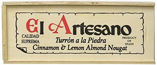 Baúl de madera con Turrón a la piedra El Artesano 300 gr