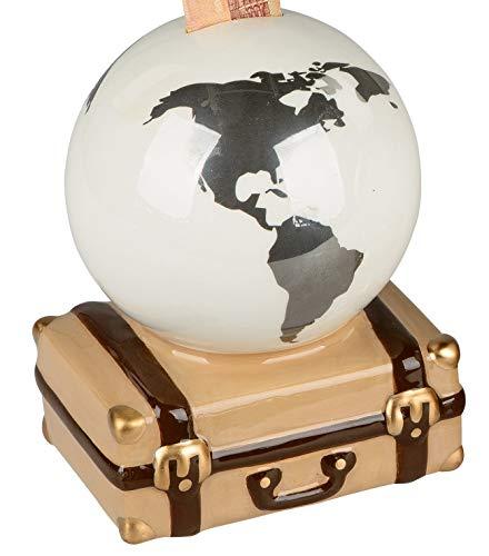 dekojohnson Sparschwein-Globus auf Koffer Sparbüchse Spardose Weltkugel Reisekasse Urlaubskasse Silber weiß braun 16x16cm Geburtstagsgeschenk
