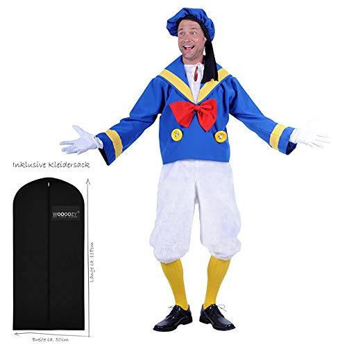 WOOOOZY Herren-Kostüm Matrosen Comic Ente, dreiteilig, Gr. S - inklusive praktischem Kleidersack