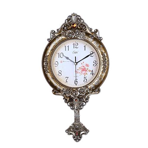 LZL Reloj de Pared de Swing Europeo de 20 Pulgadas silencioso sin tictac fáciles de Leer Relojes de Pared Decorativos para la Sala de Estar decoración para el hogar Office Kitche (Color : Gold)