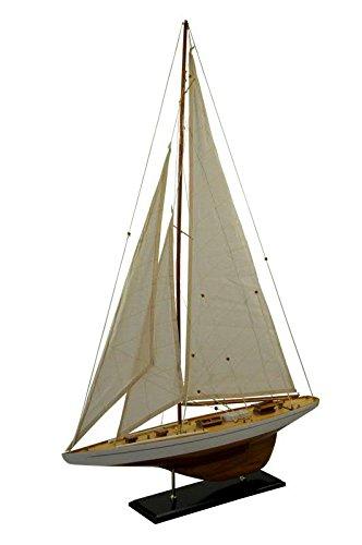 Sehr Großes (XL) Modell Segelschiff/Segelboot - Weiß/Braun - Höhe 113cm / Länge 75cm - Maritime Dekoration/Standmodell/Fertigmodell/Dekoration/Tischdekoration/Deko/Miniatur/Modellschiff/Modellboot
