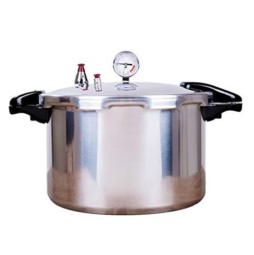RDMSLKQ Druckkocher Druckbehälter mit Druckmesser mit hohen Kapazität Aluminiumkochherd schnell Presto Druck Eindoser Reiskochern langsame Kocher 15L, 22L (Color : Silver, Size : 15L)