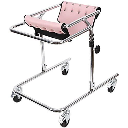 MIAOKU Andador Pie con Ruedas Inoxidable Andador para Discapacitados para Entrenamiento Niños 80-120 Cm, para Parálisis Cerebral, Hemiplejía, Equipo de Entrenamiento de Rehabilitación