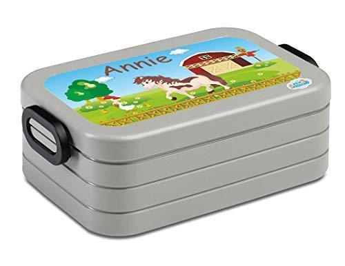 Mijn Zwergenland lunchbox Mepal Maxi Take A Break midi broodtrommel met eigen naam zilver paard