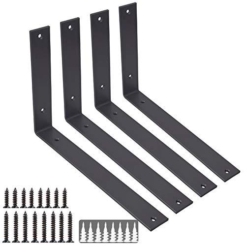 Shelf Brackets L Bracket 12 Inch 4PCS Heavy Duty Black Shelf Bracket Iron Metal Wall Bracket for DIY Open Shelving Rustic Bracket