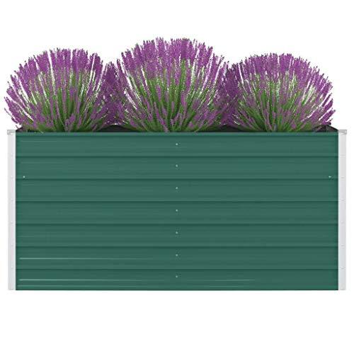 FAMIROSA Jardinera elevada de Acero galvanizado Verde 160x80x77cm