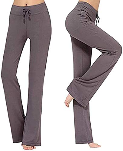 UMIPUBO Pantalones De Yoga para Mujer con Bolsillos Alta Cintura Elásticos Cordón De Pierna Ancha Salón Recto Suelto Pantalones De Entrenamiento De Entrenamiento Pantalones De Chándal Casuales