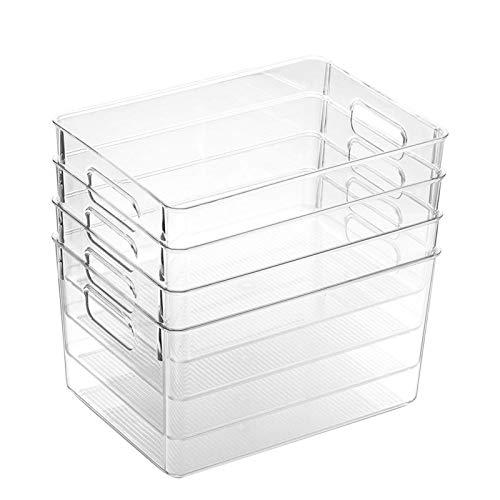 Leisuretime Juego de 4 cajas de almacenamiento para frigorífico, organizador de frigorífico, organizador de almacenamiento, bandeja ligera, transparente, para despensa de cocina, armario
