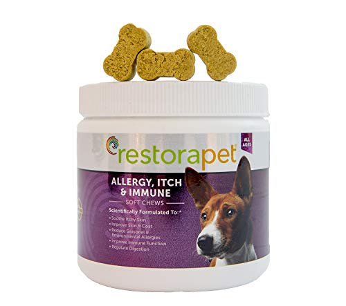 RestoraPet Allergy, Itch & Immune Soft Chews - Natural Supplement for Dogs - Support Immunity, Soothe Skin Irritation, Improve Coat Quality – with Lactoferrin, Colostrum & Omega 3-60 Bacon Chewables