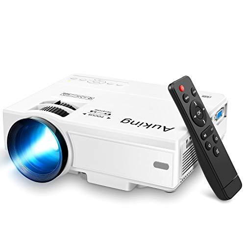 AuKing Mini-Projektor 2021, tragbarer Video-Projektor, 55.000 Stunden Multimedia-Heimkino, Film-Projektor, kompatibel mit Full HD 1080P HDMI, VGA, USB, AV, Laptop, Smartphone