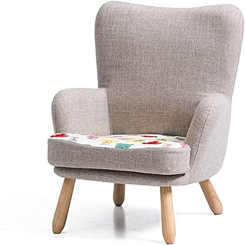 Sillón de sofá Infantil con Respaldo Alto,Silla de sofá pequeño Individual,niño Mini sofá con Pliegues creativos,sillones Relax Balcón,sillas de Descanso,Gris
