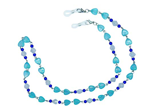 GoOpticians Blue Beaded Heart Women's Traditional Fasten Glasses Cord Necklace Glasses Cord Spectacle Chain